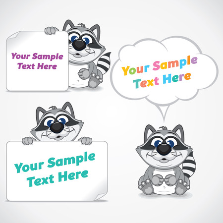 cartoon banner: Funny Cartoon Raccoon with Blank Paper Banner and Posters
