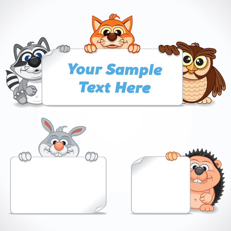 talk show: Cute Wild Animals with Banners and Labels. Cartoon Image Ready for Your Text and Design. Illustration