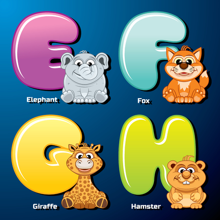 Zoo Alphabet. Cute Animals and Birds in Alphabetical Order. Cartoon Vector Illustration.