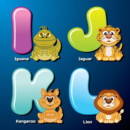 動物園のアルファベット。かわいい動物やアルファベット順に鳥。漫画のベクトル図です。