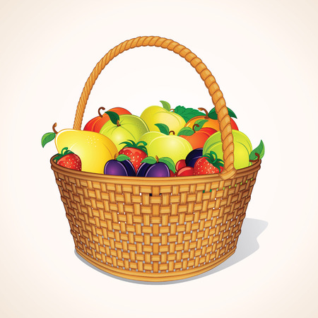 fruits in a basket: Orchand Harvest in Basket. Hamper of Fresh Organic Berries and Fruits.