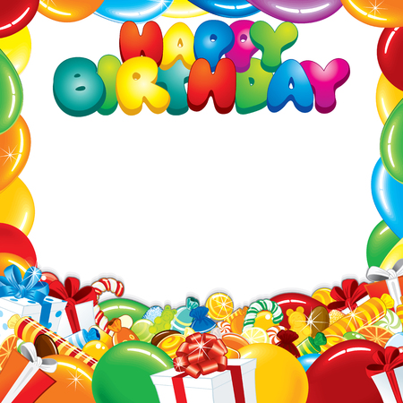 first birthday: Happy Birthday Card Design. Ready for Your Text and Greetings. Illustration