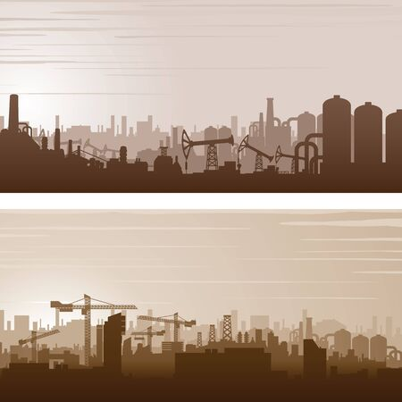 housing problems: Industrial Cityscape Design. Banner or Poster Template. Vector Background