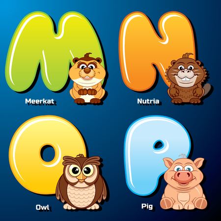alphabetical order: Zoo Alphabet. Cute Animals and Birds in Alphabetical Order. Cartoon Vector Illustration.