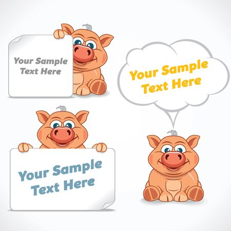 Funny Cartoon Pig with Banners and Labels. Vector Ready for Your Text and Design.