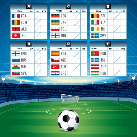 qualified: Euro Soccer Table with Qualified National Teams. Vector Image