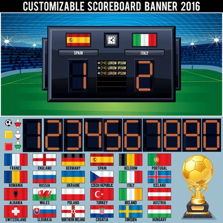 customizable: Soccer Customizable Scoreboard. Ready for Your Text and Design.