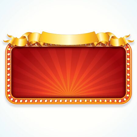 marquee: Theater Marquee. Luxury Vector Sign Ready for Your Text and Design.