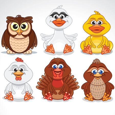 Set of Various Cartoon Birds. Illustration
