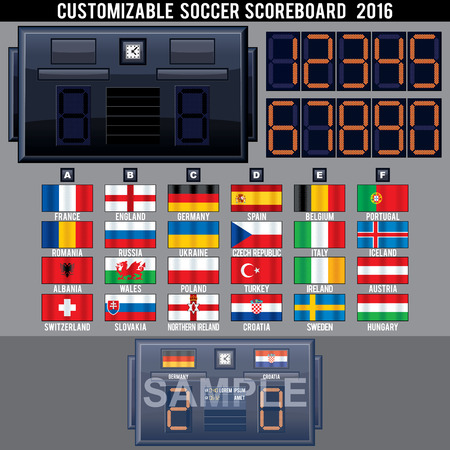 scoreboard: Soccer Electronic Scoreboard Template.Ready for Your Text and Design.