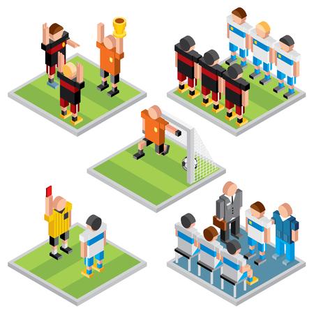 uefa: Isometric Vector Sport. Set of 3D Design Soccer Game Icons