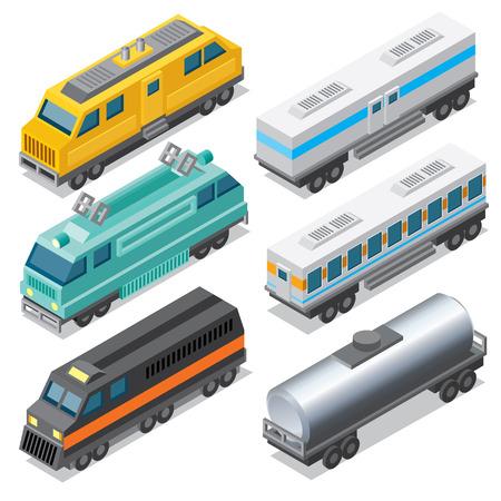 aljibe: Conjunto de isométricos locomotoras y coches de carga, cisterna y Vagón de pasajeros. Vectores