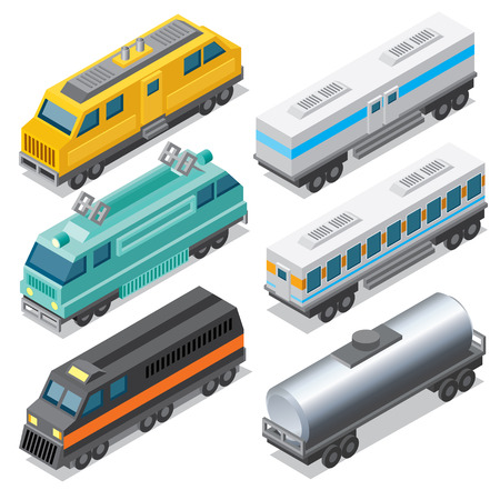 cistern: Set of Isometric Locomotives and Freight Car, Cistern and Passenger Coach. Illustration