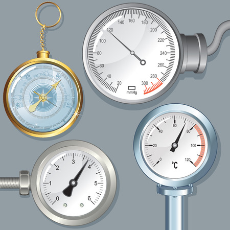 needle valve: Set of Various Vector Devices with Editable Needle. Atmosphere Barometer, Manometer, Dial Thermometer, Sphygmomanometer and Pressure Gauge.