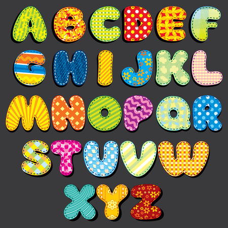 stitched: Stitched Fabric Alphabet. Fun Cartoon Letters Applique, Patches. Ready for Your Text and Design.