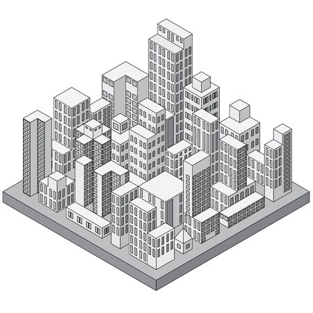 building silhouette: Abstract Isometric City Concept. Ready for Your Text and Design.