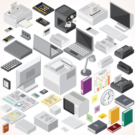 Isometric Office Equipments and Interior Items. Vector Collection. Set of Electronic Equipments, Workplace Supplies, Computers and Devices etc.
