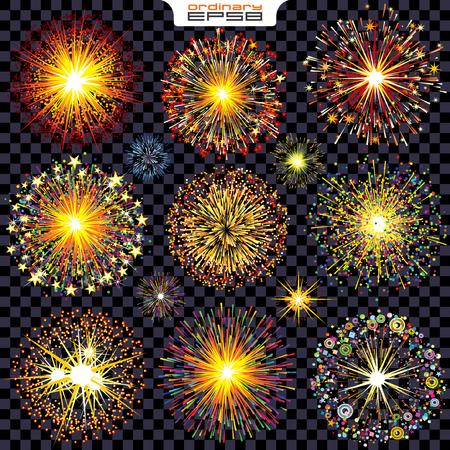 fuegos artificiales: Colección de fuegos artificiales aislados, chispas, explosiones. Conjunto de vectores listo para su diseño.