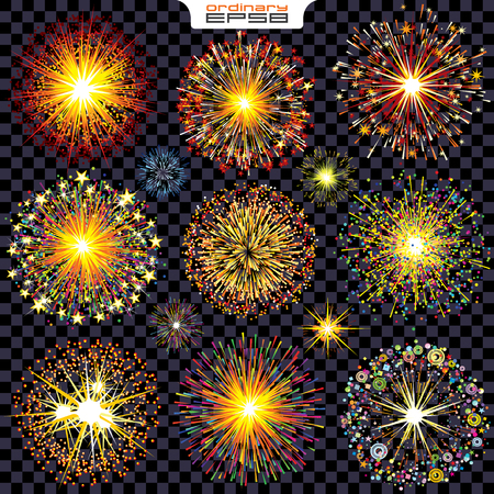 bright lights: Collection of Isolated Fireworks, Sparks, Explosions. Vector Set Ready for Your Design.