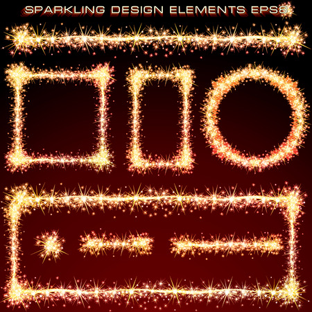Sparkling Design Elements. Abstract Fireworks Borders. Ready for Your Text and Design. Illustration