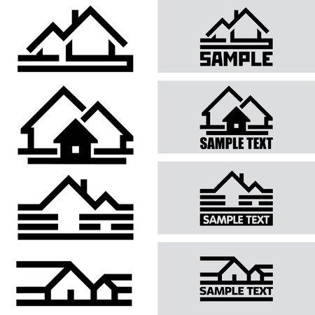 residential settlement: Creative House Icons from Lines. Concept Idea Ready for Your Text and Design. Illustration