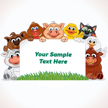 farm animals: Cute Animals with Blank Banner. Cartoon Farm Animals. Illustration Ready for Your Text and Design.