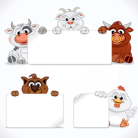 Leuke Dieren Collectie. Cartoon Farm Dieren Met Banners En Tekens. Klaar voor uw tekst en ontwerp. Vector Illustratie