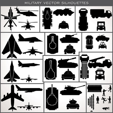 top gun: Abstract Military Silhouettes. Various Planes Vehicles Tanks, Troops.