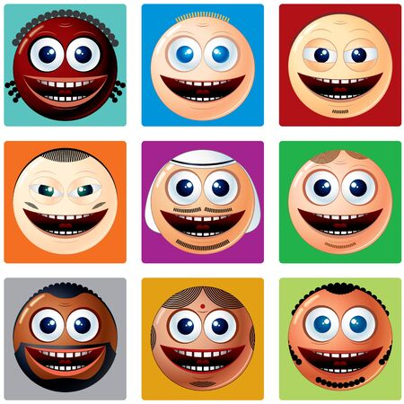 ethnicity: Nationality Smiley Icons. Set of Smileys. Various Cartoon Man Faces with Different Ethnicity Illustration