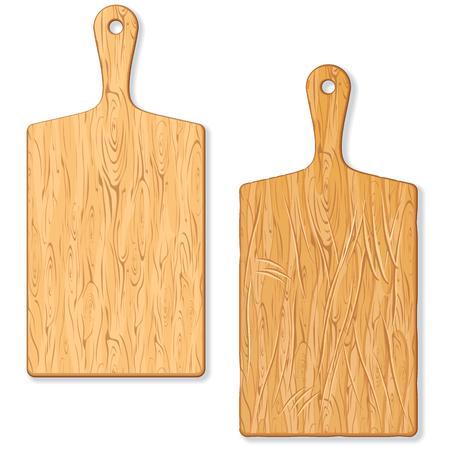El corte de madera clásico o Tabla de cortar. Imagen de Grunge Viejo y Nueva tabla de cortar. Tabla de cortar aislada. bloque de carnicero Ilustración de vector