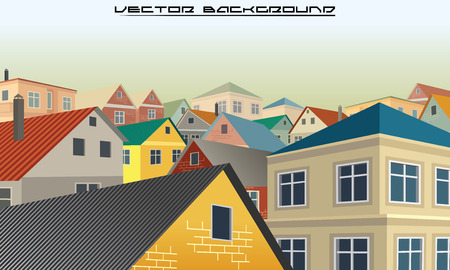 rows: Townhouse Roofs. Township City Vector Background Image