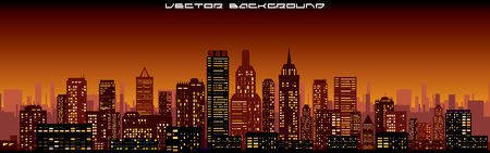 Cityscape Background. Night Skyline Vector Banner Template