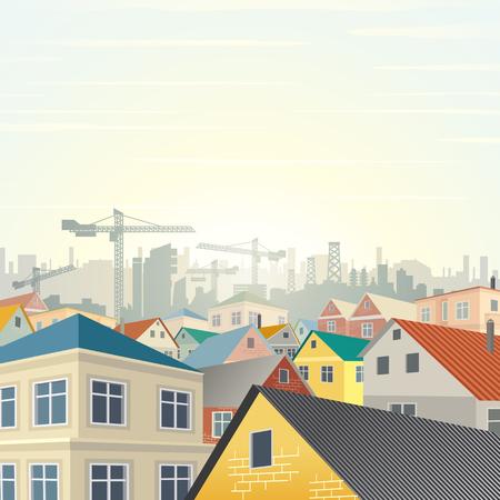 viviendas: Complejo de viviendas del municipio. Plantilla lista para su texto y el diseño.