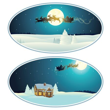 Christmas Rounded Banner with Christmas Pictures. Xmas Background.