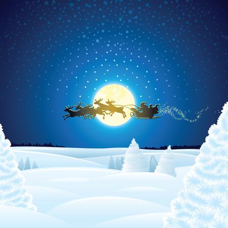 Weihnachtslandschaft mit Sankt Sleigh. Vektor