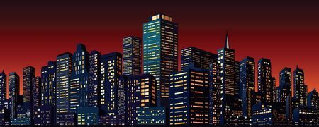 city at night: Cityscape with Group of Skyscrapers. Vector Banner for Your Text and Design. Illustration