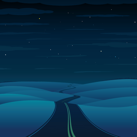 highway at night: Night Highway. Vector Landscape Picture