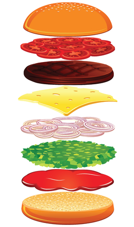 Separated Hamburger Ingredients. Create Your Own Burger Design.
