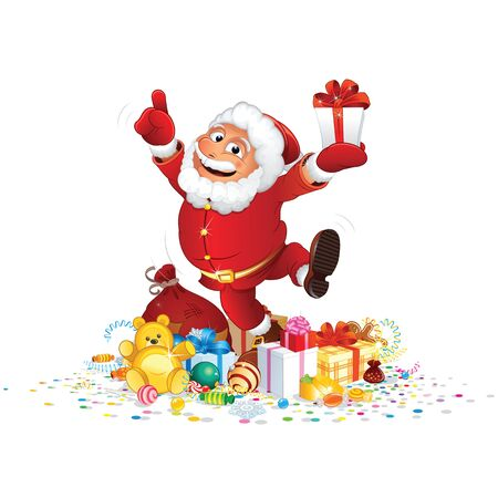 funny: Santa Claus with Bunch of Gifts. Vector Character Illustration