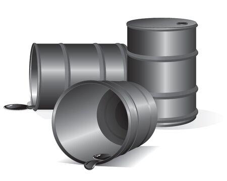 iron and steel: Empty Oil Barrels. Vector Image