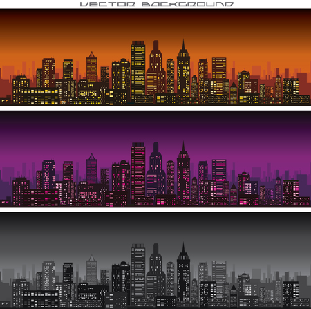 Abstract City Skyline Banners Vector. Ready for Your Text and Design.