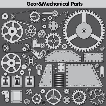 creation kit: Vintage Mechanical Parts, Gears and Levers. Vector Creation Kit. Vector Gear. Gear Icon