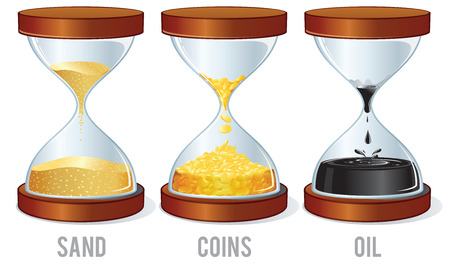 Set of Classic Hourglasses with Oil, Coins and Sand. Vector Concept For Your Text and Design. Иллюстрация