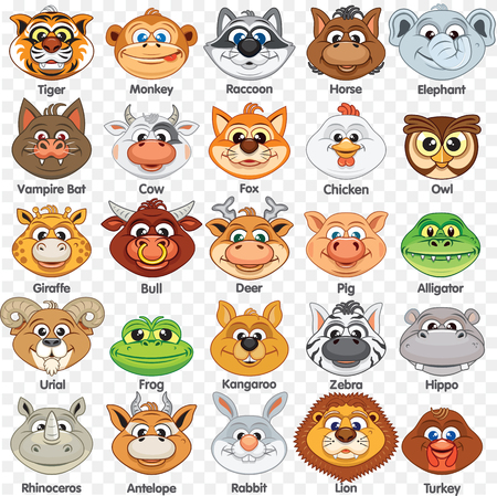 Printable Animal Masks Template. Cutout Paper Mask of Cute Animals and Birds. Infant School or Playschool