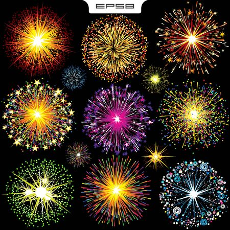 Bright Colorfiul Explosions, Fireworks. Vector Set