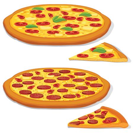 margarita pizza: Vector Pepperoni and Margarita Pizza