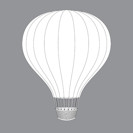 inflate: Hot Air Balloon. Contour Drawings for Color Design