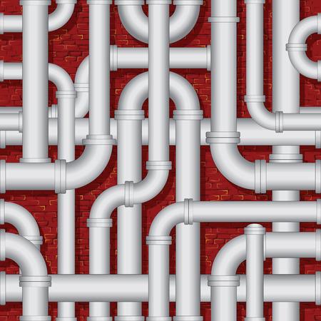 Boiler PVC Pipe Construction. Vector Illustration