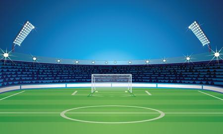 Plantilla vacía de fondo con estadio de campo de fútbol