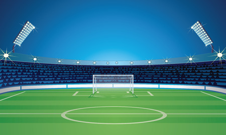 Empty Backdrop Template with Soccer Field Stadium Illustration